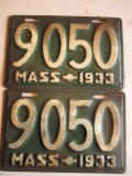 2 Low Number Massachusetts 1933 License Plates
