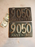 Pair 1931 Low Number Massachusetts License Plates