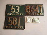 Mass Low Number 1935 & 1933 License Plates