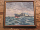 U.S. Destroyer Mac Donough WPA O/C by Henry Orne Rider Frame 34