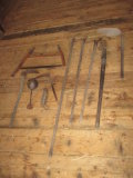 Farm Tools, Bow Saw, Hanging Scale, etc.