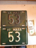 Massachusetts Low Number 1937 License Plates