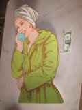 Cardboard Figure of Woman on Telephone