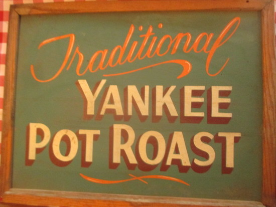 "Traditional Pot Roast sign paint on chalkboard 24"" X 18""- staining"