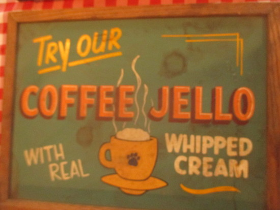 "Coffee Jello real whipped cream sign paint on chalkboard 24"" X 18""- staining"