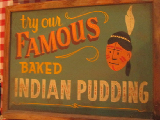 "Famous baked Indian pudding sign paint on chalkboard 24"" X 18""- staining"
