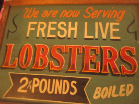 "Fresh Live Lobsters 2 1/4 pounds boiled sign paint chalkboard 24"" X 18""-stains"