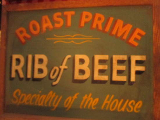 "Roast Prime Rib of Beef sign paint on chalkboard 24""X  18""- staining"