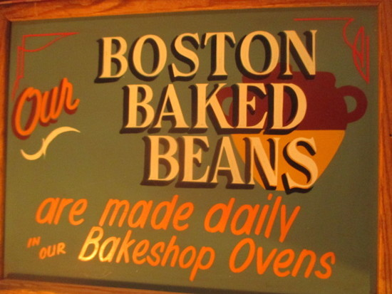 "Boston Baked Beans sign paint on chalkboard 24"" X 18"" - staining"