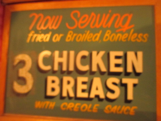 "3 Chicken Breast with Creole sauce sign paint on chalkboard 24"" X 18"" - staining"