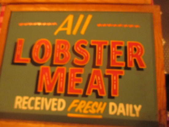 "All Lobster Meat received fresh daily sign paint on chalkboard 24"" X 18""  stains"