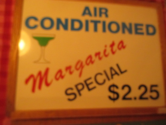 "Air conditioned - $2.25 Margaritas sign paint on chalkboard 24"" X 18"" - staining"