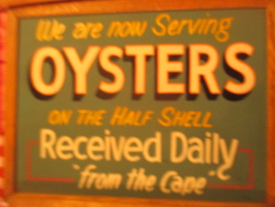 "Serving Oysters on the Half Shell from the Cape sign paint chalkboard 24"" X 18"""