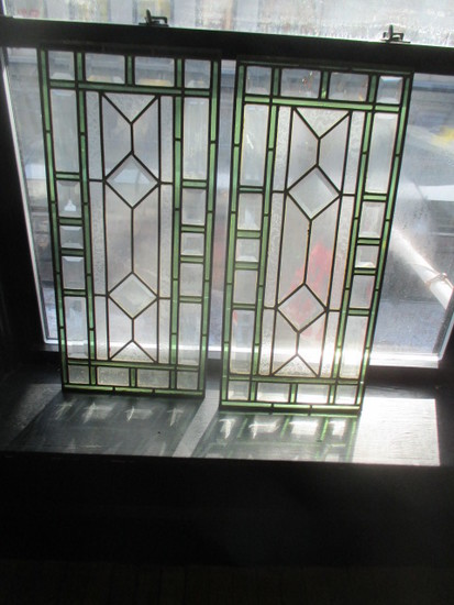 "Pair Leaded Stained Glass Panes 13"" X 28 1/2"" (some small cracks)"