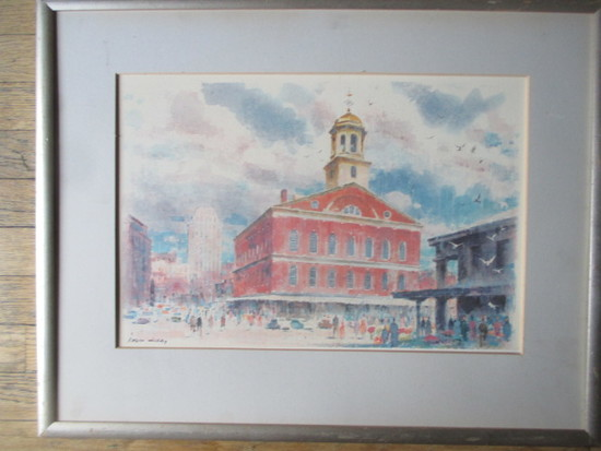 "Ralph Avery print of Faneiul Hall - Frame 25 1/2"" X 20"""