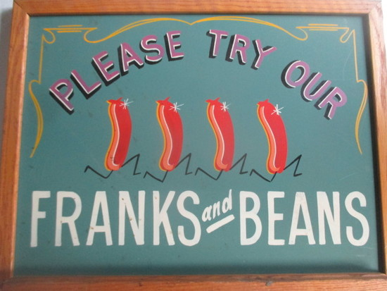 "Retro ""Please try our Franks and Beans"" sign paint on chalkboard 24"" X 18"""