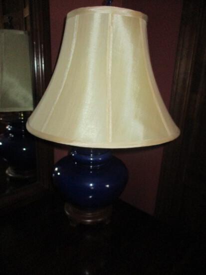 "Cobalt Blue Asian Motif Table Lamp 26"""