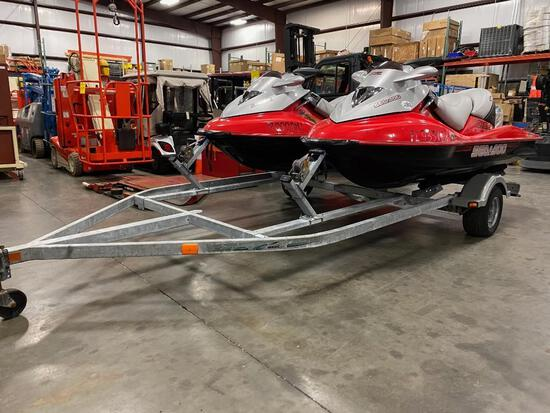 PAIR OF SEA DOO GTX AND SEA DOO GTX, ONE UNIT RUNS AND OPERATES, OTHER UNIT WOULD NOT START, TRAILER