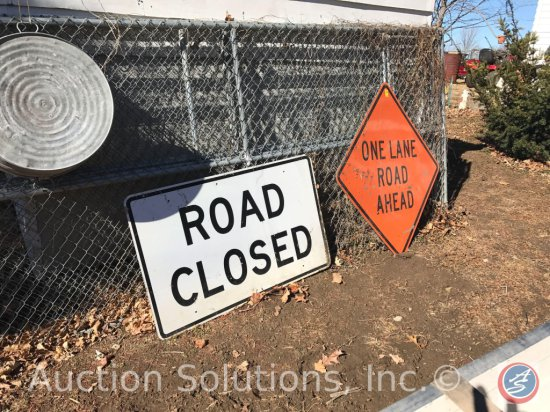 [2] Road Signs: 'Road Closed'; and 'One Lane...Ahead' Construction