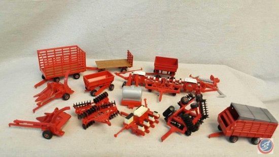 (13) die cast ERTL Case International farm equipment accessories and trailers.