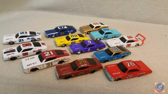 (12) Road Champs die cast cars including cars marked: #5 Pete Hamilton, #21 Donnie Allison, #76