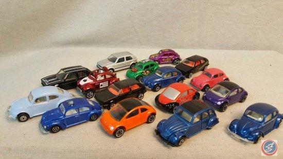 (15) die cast Hot Wheels, Macthbox, and Maisto Volkswagen beetles.