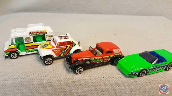 "(4) Hot Wheels ""Tropicool"" die cast cars including a Corvette convertible marked ""Tour'd Island"","