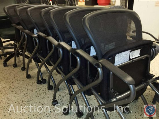 [8] All Makes Office Equipment, Black Mesh Conference Chairs on Wheels w/ Folding Seats for