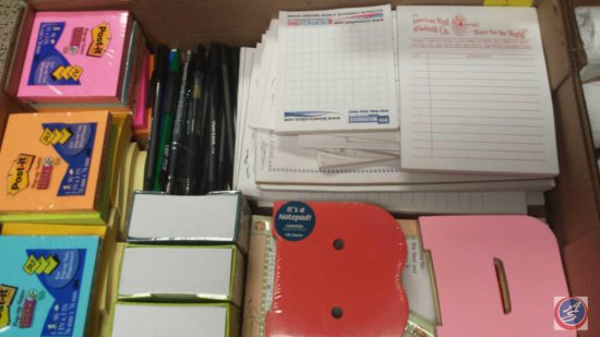 Flat Containing Assorted Office Supplies Including (21) Post It Note Pads, Pens, and More
