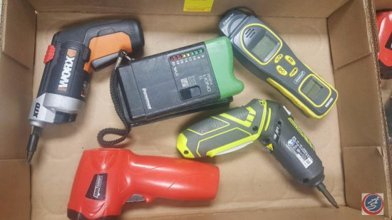 Assortment of Tools Including a Ryobi Power Screwdriver Model #CS16371D020409, Thermometer, and More