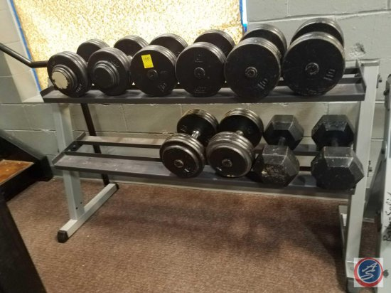 Body Solid 2 tier weight rack including 10 Dumbbells pair of 80 lbs., 2 pairs 60 lbs., pair of 70