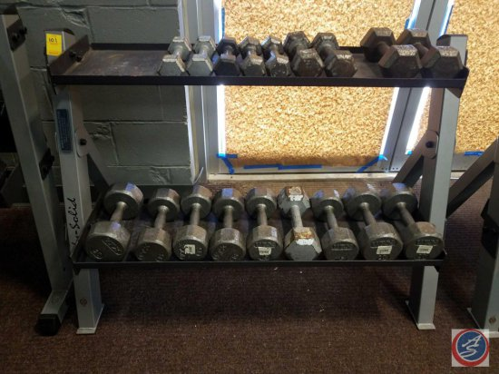Body Solid 2 Tier weight rack including dumbbells pair 20 lbs., 3 pairs of 15 lbs., pair of 12 lbs.,