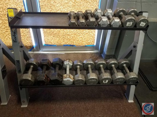 Body Solid 2 Tier Weight Rack including dumbbells 3 pair of 20 lbs., 2 pair of 15 lbs., pair of 10