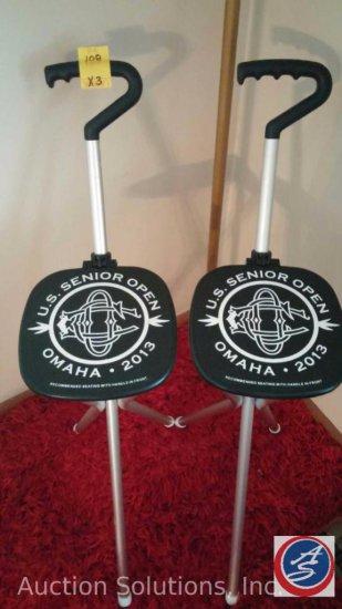 (2) US Senior Open Folding Cane Seats, Flag Pole