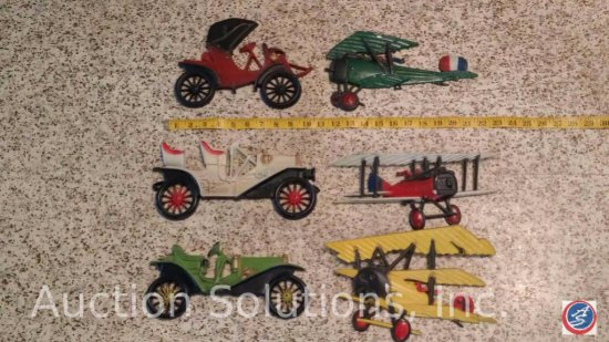 (6) Assorted Metal, Decorative Vintage Planes and Cars