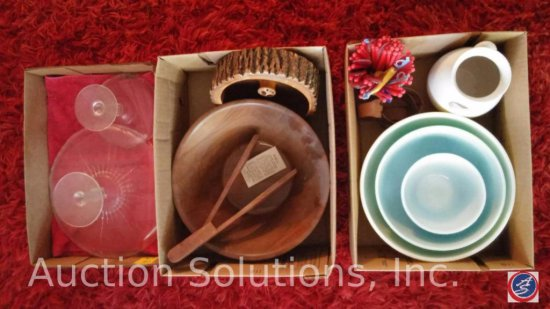 (3) Boxes of Assorted Bowls, Ceramic Pitcher, Glass Cake Stands and Misc. Items