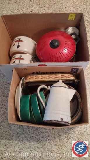 (2) Boxes of Assorted Kitchen Items to Include Decorative Pots, Metal Pitcher, 7-Piece Dip Set,