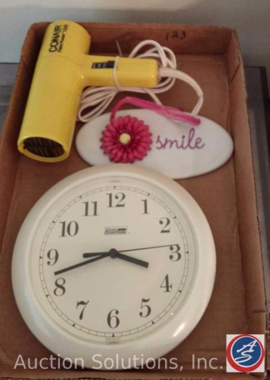 (3) Boxes to Include, Holiday Decorations, (2) Ceramic Figurines, Vase, Coasters, Conair Hair Dryer,