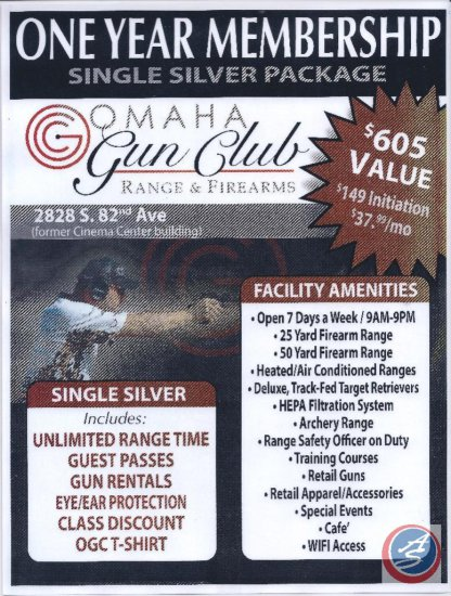 One Year Silver Membership to the Omaha Gun Club
