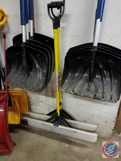 (2) The Snow Plow uhmw poly snow & waster pusher shovels, measuring 36 inches