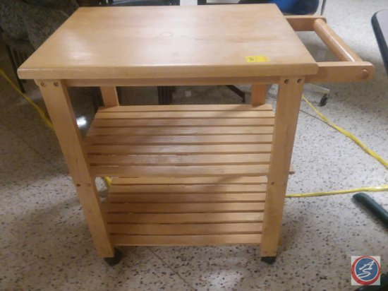 "32"" Wood Rolling Microwave Cart"