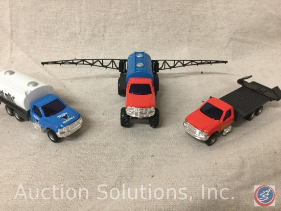 (3) Tonka: Red Ford F 350 Dealership Implement Truck, Blue Ford F 350 Dairy Transport Truck, Red