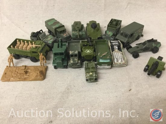 (14) MatchBox and Hot Wheels Military Cars: includes Soldier stand and Cannon