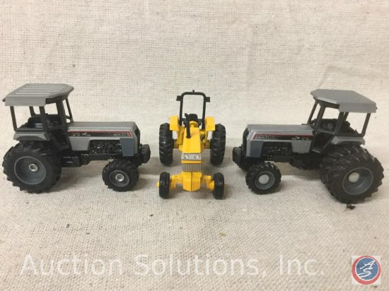 "(3) Ertl Tractors: 60 seriesRow Crop #4269 AO, Gray workhorse 170, Gray 145 dual Back Wheels ""15"""