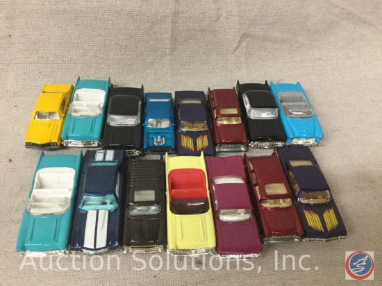 "(15) Hot Wheels and Matchbox: 55"" Normad, Purple 65' Impala, Blue Nova (No Hood), Etc"