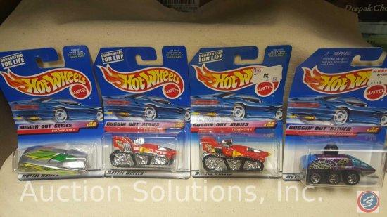 (4) Hot Wheels Buggin' Out Series: (2) Treadator Collector #941 1998, (1) Radar Ranger Collector
