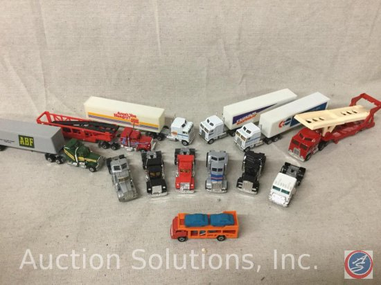 (12) Semi Tractors: 6 with trailers, (1) Car Transport Truck