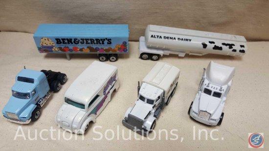 (4) Die Cast Trucks: White How Wheels Milk Truck 1997, Matchbox Mack Truck and Trailer Baby Blue,