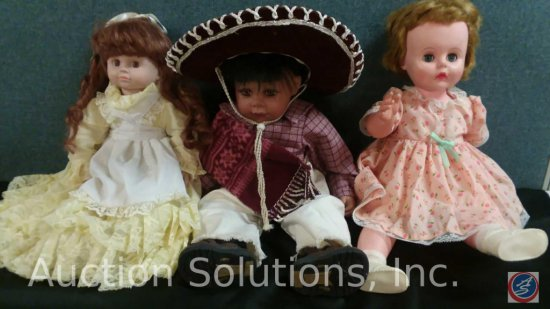 (1) Misc Plastic Doll, Duck House Heirloom Indian Doll #1,183/5000, (1) Misc Porcelain Doll