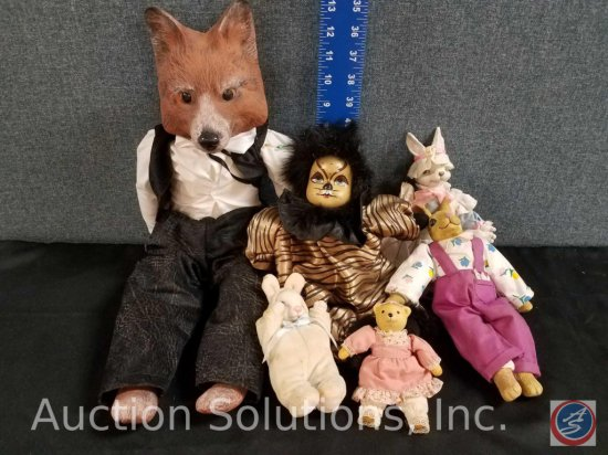 assorted misc. mini bunny dolls, Cats doll, Porcelain fox doll